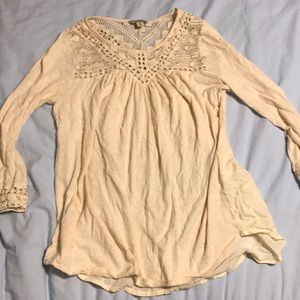 long sleeve blouse with lace top and cuffs
